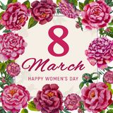 8 March International Women`s Day. Greeting card. Pink rose and piones, green leaves. 8 March. pink Floral rose piones flowers Greeting card. International Happy stock illustration