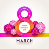 8 March International women`s day greeting card - ribbon in the shape of sign eight and flowers. 8 March International women`s day greeting card -colorful royalty free illustration