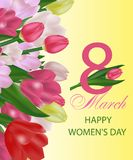 March 8 International Women`s Day greeting card template with flowers. Background with tulips. Vector. Illustration stock illustration