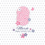8 March international women s day greeting card template. 8 March international women s day background. Greeting card template. Vector illustration Stock Photos