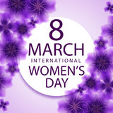8 March international women`s day greeting card template. Stock Image