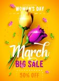 8 March. International Women`s Day. Happy Mother`s Day. 8 March sale flyer. International Women`s Day. Happy Mother`s Day. Flowers with confetti on red vector illustration