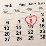 March 8 International Women`s Day. Heart shaped symbol calendar reminder. Vector illustration Stock Photos
