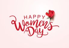 Happy Women`s Day. March 8, International Women`s Day lettering design with rose vector illustration