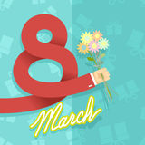 8 march. international womens day. Man hand holding bouquet of. Flowers. Gifts Vector Illustration