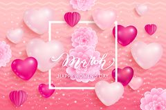 8 March International Women`s Day. Greeting card in pink color. Vector illustration Royalty Free Stock Photography