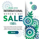 8 March. International Women`s Day. 8 March International Women`s Day sale banner with green origami flowers vector illustration