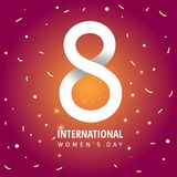 8 March. International Women`s Day. 8 March International Women`s Day sale banner with paper cut number 8 vector illustration