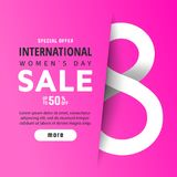 8 March. International Women`s Day. 8 March International Women`s Day sale banner with paper cut number 8 Royalty Free Stock Image