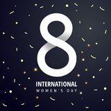 8 March. International Women`s Day. 8 March International Women`s Day sale banner with paper cut number 8 on a dark background stock illustration