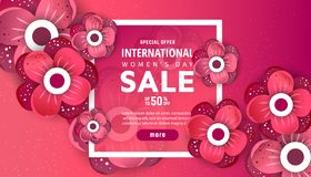 8 March. International Women`s Day. 8 March International Women`s Day sale banner with red origami flowers and frame stock illustration