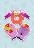 8 March, International Women's Day. Pink boxing gloves Stock Images