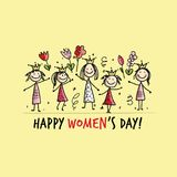 8 march, international women`s day. Pretty girls with flowers for your design. Vector illustration royalty free illustration