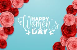 March 8 International Women`s Day. Red roses on blue background. Illustration of March 8 International Women`s Day. Red roses on blue background Stock Photography