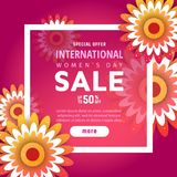 8 March. International Women`s Day. 8 March International Women`s Day sale banner with frame and red origami flowers stock illustration