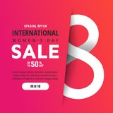 8 March. International Women`s Day. 8 March International Women`s Day sale banner with paper cut number 8 Stock Photos