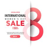 8 March. International Women`s Day. 8 March International Women`s Day sale banner with paper cut number 8 royalty free illustration