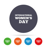8 March International Women`s Day sign icon. Holiday symbol. Round colourful buttons with flat icons. Vector Stock Images
