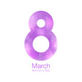 March 8 - International Womens Day Design of greeting card. Pink purple 8th watercolor background. Vector illustration Stock Image