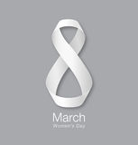 March 8 - International Womens Day Design of greeting card. Realistic white ribbon background. Vector illustration Royalty Free Stock Photo