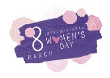 8 March International Womens day design. Of violet brush and pink carnation flowers on white background vector illustration Stock Image