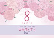 8 March International Womens day design of pink carnation. Background flowers vector illustration Royalty Free Stock Photography