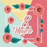 March 8 international womens day greeting card floral image. Vector illustration stock illustration