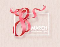March 8 greeting card. March 8 International Womens Day greeting card with red ribbon. Background template. Vector illustration Royalty Free Stock Photography