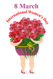 8 March. International womens day. Happy woman holding  large bouquet of roses. Girl and lots of fresh flowers. Character for holiday Royalty Free Stock Images