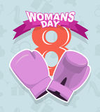 8 March, International Womens Day. Pink boxing gloves.  royalty free illustration
