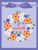 8 march Invitation card Stock Photos
