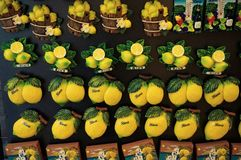 Lemon magnets in a souvenir shop in Italy stock image