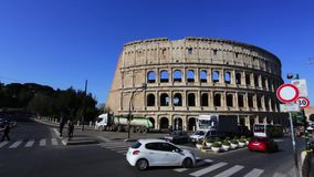 2019 March 21: Italy Rome, the Colosseum tourists on city tours in the spring. Editorial.  stock footage