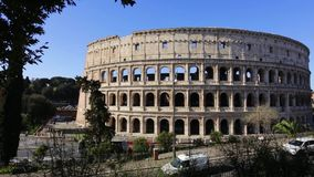 2019 March 21: Italy Rome, the Colosseum tourists on city tours in the spring. Editorial.  stock video footage
