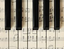 March 28, 2018. Izhevsk, Russia. Musical notes, piano. Background, top view. stock photos