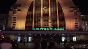 March 7, 2019. Kiev. Ukraine. Central Railway Station. Facade exterior of the main building. The entrance to the station. Departure terminal international stock video