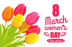 8 March Ladys Day Love Spring Vector Illustration. 8 March ladys day, love spring lettering of pink color with ribbon tulips and flowers symbolic items, vector Stock Image