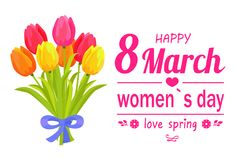 8 March Ladys Day Love Spring Vector Illustration. 8 March ladys day, love spring lettering of pink color with ribbon tulips and flowers symbolic items, vector Stock Photo