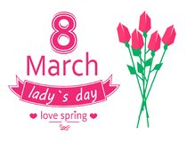 8 March Ladys Day Love Spring Vector Illustration. 8 March ladys day, love spring lettering of pink color with ribbon tulips and flowers symbolic items, vector Royalty Free Stock Photography