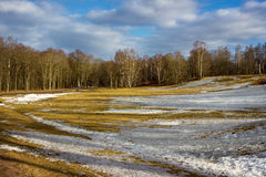 March landscape in Russia. Park Alexandria in March. Peterhof. Saint Petersburg. Russia Stock Images