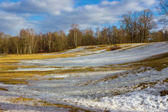 March landscape in Russia. Park Alexandria in March. Peterhof. Saint Petersburg. Russia Royalty Free Stock Image