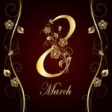 Womens day greeting card. 8 March lettering greeting card decorated with beautiful gold flowers on dark background Stock Image