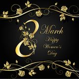 Womens day greeting card. 8 March lettering greeting card decorated with beautiful gold flowers on dark background Royalty Free Stock Photos
