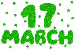 17 March Lettering Made of Shamrock. Happy Sain Patrick`s Day Greeting Vector Illustration