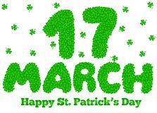 17 March Lettering Made of Shamrock. Happy Sain Patrick`s Day Greeting Stock Illustration