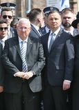 `March of the Living` at Auschwitz, Oswiecim, Poland - 12 Apr 2018,. President of Israel Reuven Rivlin and Polish President Andrzej Duda during the March of the Stock Photo