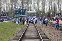 March of the Living in german Concentration Camp in Auschwitz Royalty Free Stock Photography