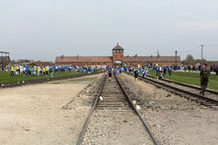 March of the Living in german Concentration Camp in Auschwitz Stock Photo