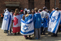 March of the Living in german Concentration Camp in Auschwitz Stock Photos