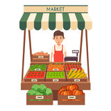 Marché local de stalle Vente des légumes Illustration plate de vecteur Images stock